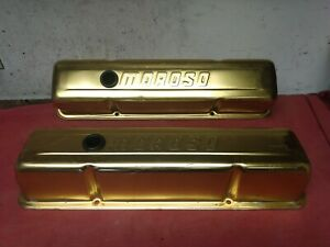 Vintage Moroso Small Block Chevy Gold Anodized Valve Covers Sbc