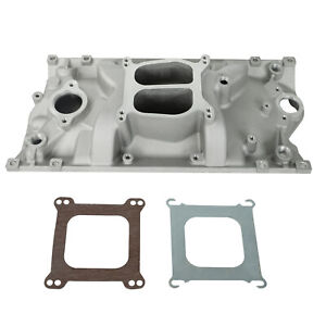 Sbc Chevy Dual Plane Satin Aluminum Intake Manifold For Vortec 350 Heads