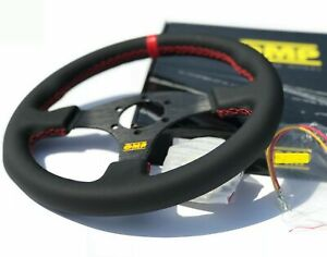 320mm Leather Flat Style Racing Steering Wheel Red Stitch Fit For Hub Nrg