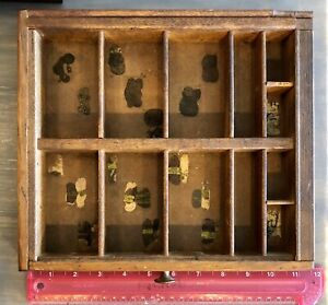 Antique Vintage Wooden Printers Drawer Type Set Tray Shadow Box