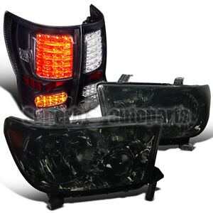 For 2007 2013 Toyota Tundra Replacement Headlights Smoke Black Led Tail Lamps