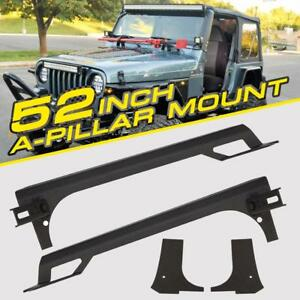 50 Led Light Bar A Pillar Windshield Mount Brackets For 97 06 Jeep Wrangler Tj