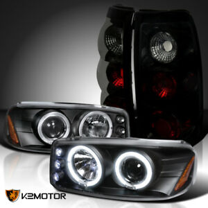 For 1999 2003 Gmc Sierra Black Halo Projector Headlights Black Smoke Tail Lamps