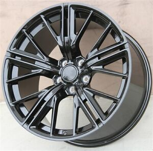 Set 4 new 20x10 20x11 5x120 Staggered Black Wheels Chevrolet Chevy Camaro Ss Zl1