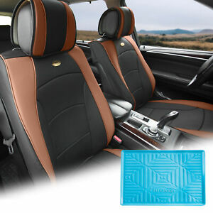 Leatherette Seat Cushion Covers Front Bucket Brown W Blue Dash Mat For Auto