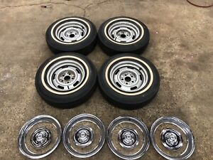 1967 67 Corvette 68 69 Caprice Impala 15x6 Rally Wheels Rims Set Of 4 Dg Code
