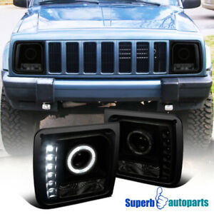 For 1997 2001 Jeep 97 01 Cherokee Black Smoke Halo Projector Headlights Led Bar