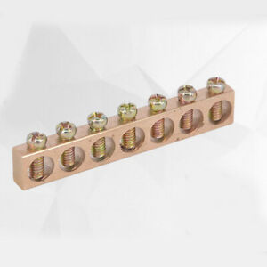 10x 7 Hole Electrical Distribution Wire Screw Terminal Ground Copper Neutral Bar