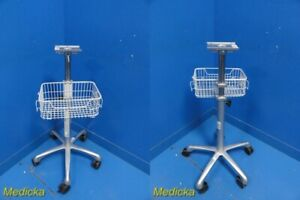 Ge Dash 3000 Patient Monitor Height Adjustable Mobile Stand W Basket 24285