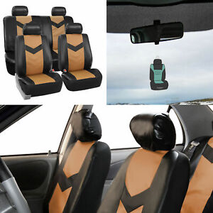 Tan Black Seat Covers For Auto Car Suv Van Pu Leather Full Set W Free Gift
