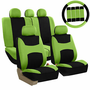 Fh Group Auto Seat Covers For Car Truck Suv Van W Steering Cover Belt Pad Green
