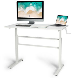 Standing Desk Height Adjustable Sit To Stand Workstation W crank Handle White