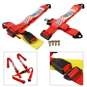 4 point Racing Seat Safety Harness Camlock Quick Release 4pt Red Universal