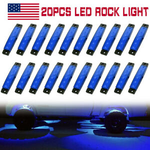 20x Blue 3 8 6led Side Marker Indicators Light Truck Trailer Clearance Lamp 12v