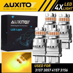 4x Auxito 3157 3156 Amber Yellow Led Turn Signal Parking Light Bulb Canbus Eoa