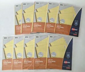 Lot Of 10 Sets Avery 8 big Tab Insertable Dividers Clear Big Tabs 11112 New
