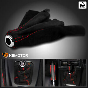 For 92 01 Civic Del Sol Integra Manual Trans Suede Jdm Shift Boot Red Stitch