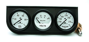 Auto Meter Autogage Oil volt water Trio White Gauge With Black Console 2 1 16