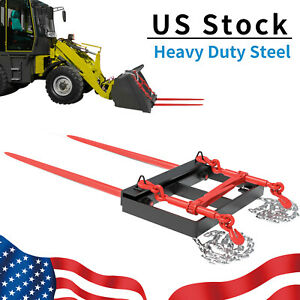 49 Hay Bale Spear Bucket Front Skid Steer Loader Tractor Dual Tine Universal