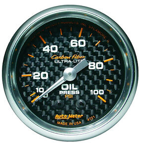 Auto Meter Carbon Fiber 100 Psi Mechanical Oil Pressure Gauge 2 1 16 52mm