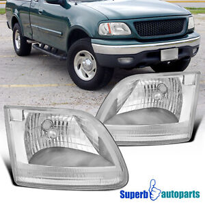 For 1997 2002 Ford Expedition Crystal Clear Headlights Head Lamps Replacement
