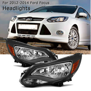 For 2012 2013 2014 Ford Focus Black Headlights Headlamps Pair