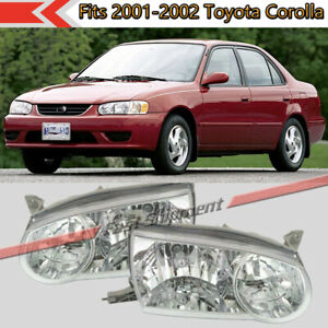 Fits Toyota Corolla 2001 2002 Left Right Clear Lens Front Headlights Headlamps