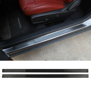 Black Stainless Steel Door Sill Scuff Plate Guards For 2009 Dodge Challenger M