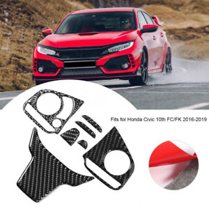 Real Carbon Fiber Steering Wheel Cover Trims For Honda Civic 10th 2016 2020