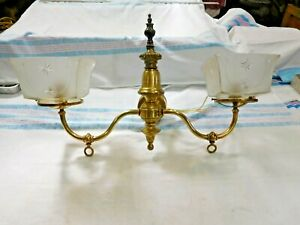Antique 2 Arm Brass Gas Converted To Electric Wall Sconce With Shades 2696