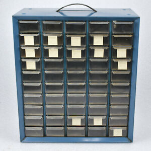 Akro Mils 50 Drawer Small Parts Organizer Metal Cabinet Plastic Drawers 13x15