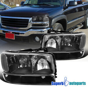 For 1999 2006 Gmc Sierra 2000 2006 Yukon Xl Black Headlights Signal Bumper Lamps