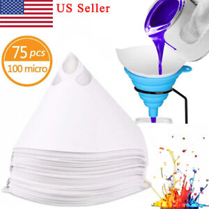 75 Pcs Paint Filter 100 Micron Nylon Resin Filter Paint Strainers With Funnel