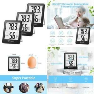 Doqaus Indoor Thermometer 3 Pack Mini Digital Hygrometer Room Thermometer Hu