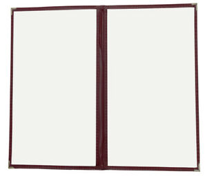 15pcs Restaurant cafe Menu Covers 8 5 x14 Two Pages With 4 Views Burgundy