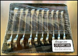 new sealed Snap on Metric Flank Drive Short Comb Wrench Set 10 19mm Oexsm710b