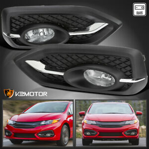 For 2014 2015 Honda Civic 2dr Coupe Clear Bumper Fog Lights W Switch Bulb 14 15
