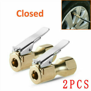 2x Air Chuck Heavy Duty Open Flow Lock On Tire Chuck With Clip Fit Gas Nozzle