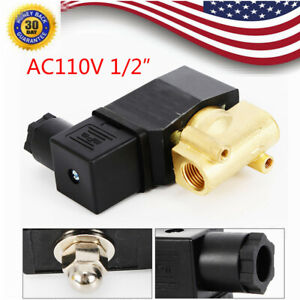1 2 Npt Brass Electromagnetic Solenoid Valve Gas Water Air Normally Closed 110v