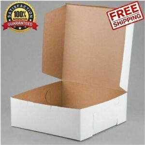50 Bundle 14 X 14 X 6 Inches Classic White Square Cake Bakery Disposable Box