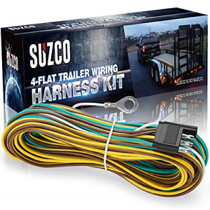 Suzco 36ft 4 Wire 4 flat Trailer Light Wiring Harness Extension Kit Custom made