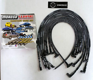 Moroso Sbc Chevy Race Spark Plug Wires Sleeved 90 Degree Hei Under Header