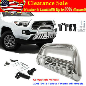 For 2005 15 Toyota Tacoma Stainless Bull Bar Brush Push Front Bumper Grill Guard