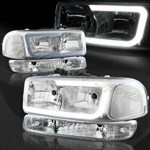 For 1999 2006 Gmc Sierra 1500 2500 G2 Drl Led Chrome Clear Headlightsbumper 4pc Fits More Than One Vehicle