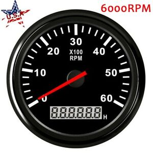 85mm Digital Tachometer Gauge 6000rpm Tacho Marine Boat Car Truck Waterproof Usa