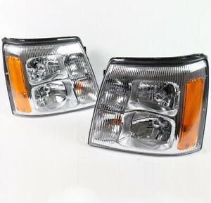 For 03 06 Cadillac Escalade esv ext hid Model Headlights Headlamps Chrome Used