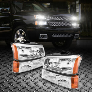 Fit 03 06 Chevy Silverado avalanche Black Housing Amber Side Headlights Assembly