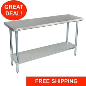18 X 60 Stainless Steel Work Prep Shelf Table Commercial Restaurant 18 Gauge