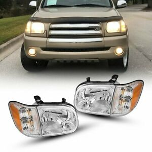 Fit 2005 2006 Toyota Tundra 05 07 Sequoia Chrome Headlights Headlamps Left Right
