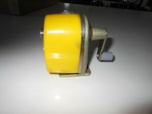 Vtg Apsco Midget Wall desk Mount Pencil Sharpener Yellow Plastic And Metal